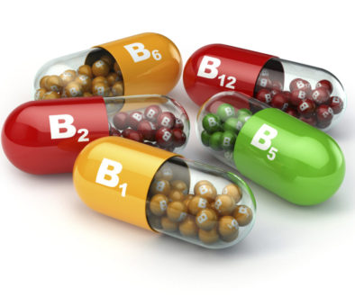 Vitamin B. Capsules B1 B2 B6 B12 on white isolated background.